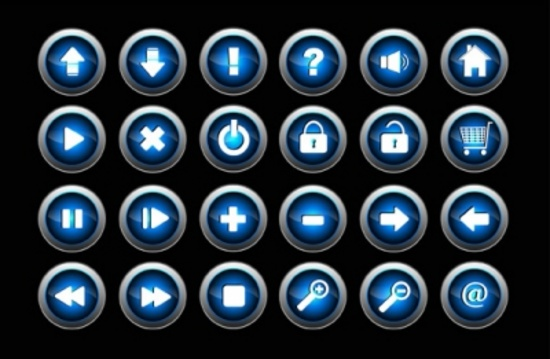 Blue 3D Glossy Vector Buttons