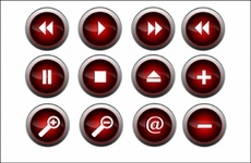 Free Red Vector Glossy Buttons