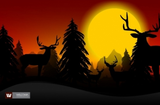 Sunset Hunting Vector Design