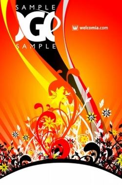 Cool Orange Floral Vector Design