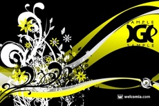 Cool Black Yellow Floral Vector Design