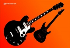Two Vector Guitars Silhouettes