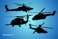 Vector Helicopters Silhouettes