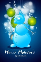 Christmas Party - Blue Vector Snowman