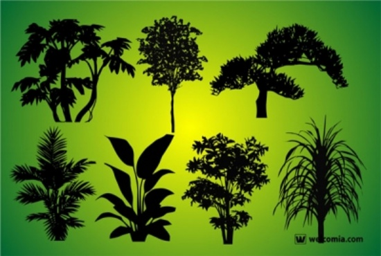 Vector Forest Elements - Silhouettes