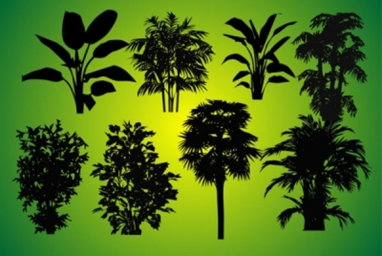 Free Vector Plants Silhouettes