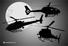 3 Vector Helicopters Silhouettes