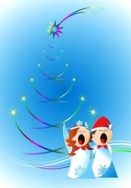 Christmas Angels Free Vector Design