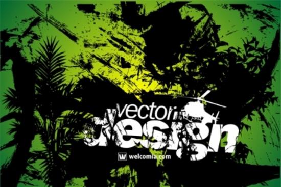 Green Floral Grunge Vector Design