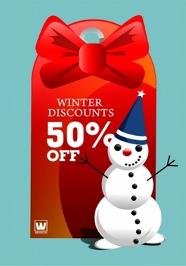Snowman and Red Tag Vector Design