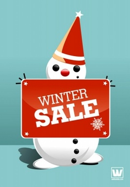Winter Sale Snowman with Sign