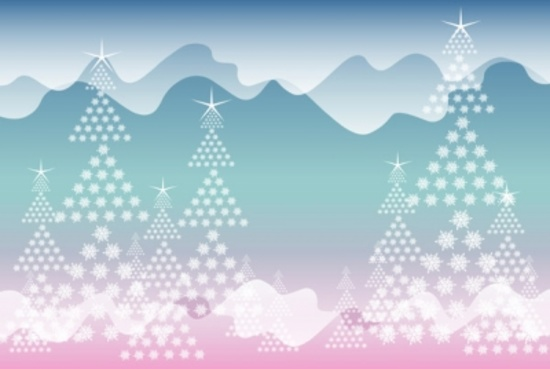 Winter Landscape Abstract Vector Graphic