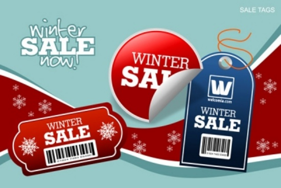Vector Winter Background and Winter Tags