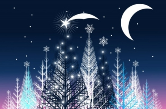 Night Winter Landscape Vector Design