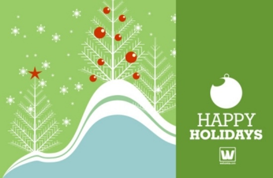 Simple Holiday Vector Postcard