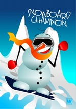 Snowman on Snowboard Vector