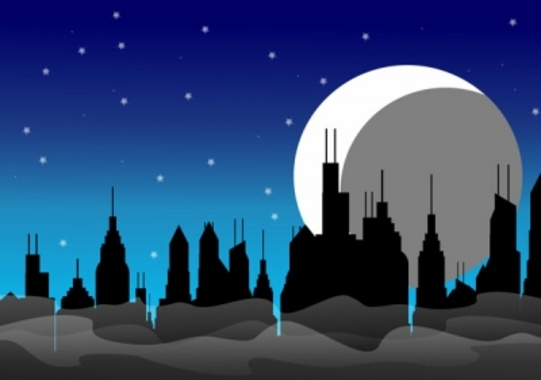 Night Skyline - Night in the City Free Vector