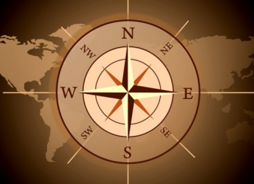Compass World Map Free Vector