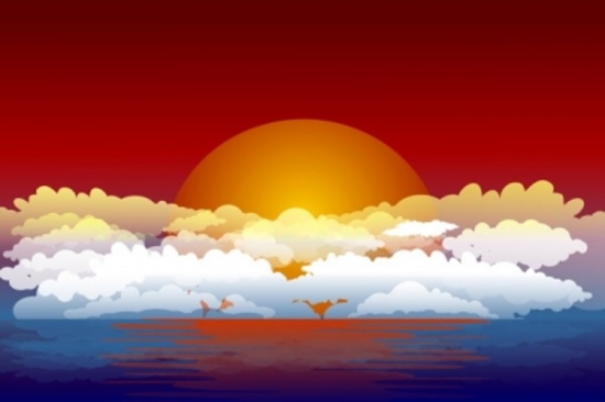 Free Vector Sunset - Vector Sky with Clouds