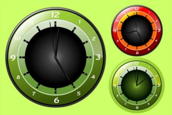 Green Vector Wall Clocks