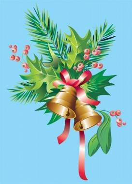 Golden Bells Floral Christmas Vector