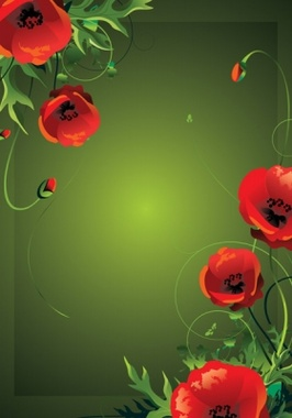 Red Poppies Vector Floral Frame