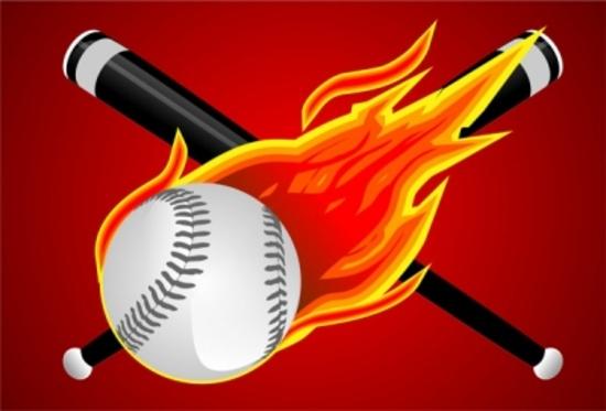Baseball Fire Ball Vector