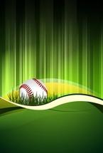Baseball Grassy Field Vector