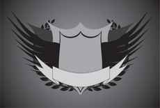Crest with Wings Vector