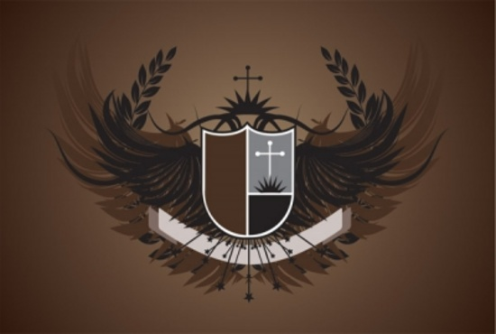 Vector Crest with Wings Design