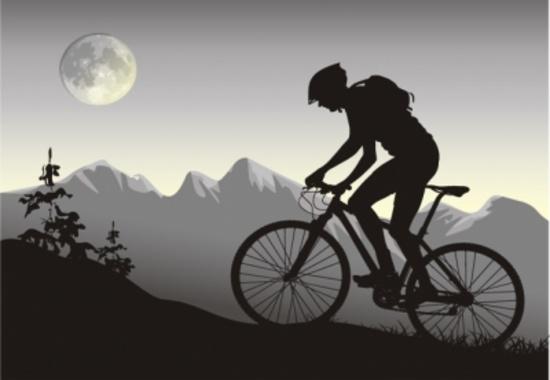 Night Bike Vector Rider