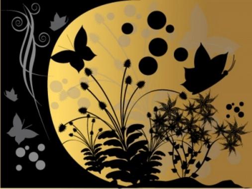 Fantasy Garden at Night - Vector Design
