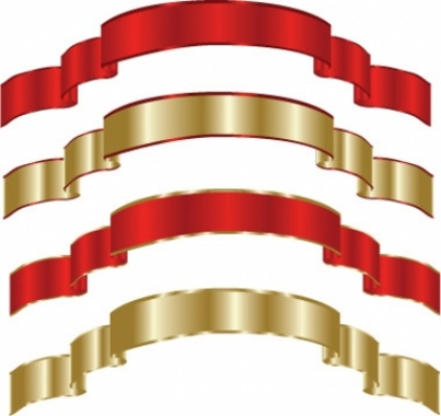 Gold and Red Free Vector Ribbons