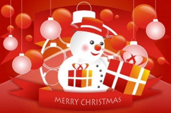 Free Christmas Theme with Snowman Vector