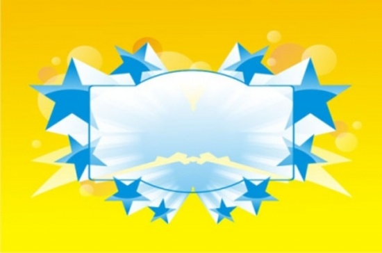 Blue Stars on the Yellow Background Free Vector Graphic