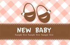 New Baby Born Postcard Free Vector