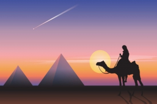 Pyramids and Men on Camel Vector