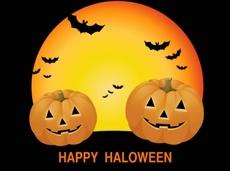 Halloween theme card with pumpkins