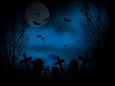 Dark Blue Halloween Cemetery Vector Theme