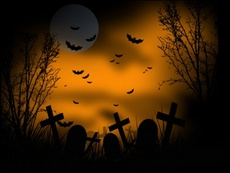 Halloween Scary Graveyard Vector