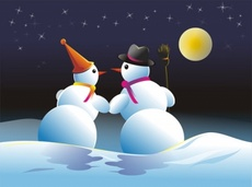 Snowmans Couple - Winter Vector Theme