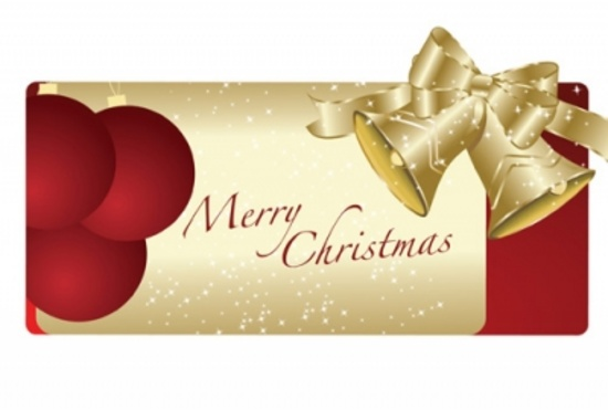 Christmas Tag with Gold Bells - Vector