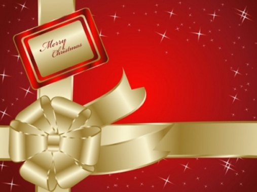 Holiday Vector Theme with Golden Vector Bow