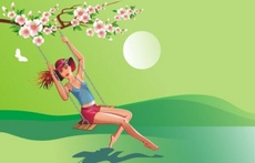 Swinging Girl - Spring Theme Vector