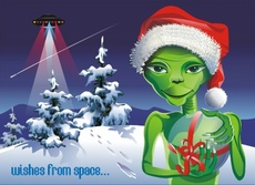 Christmas Alien - E.T. from the Space Vector Illustration