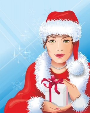 Santa Girl Vector Art
