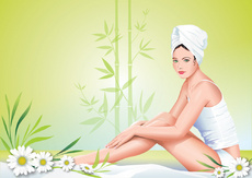 Girl in SPA Vector Illustration