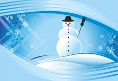 Snowman and Winter Background Design