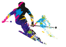 Skiing Vector Concept Illustration
