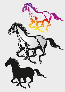 Running Horses Vector Graphic